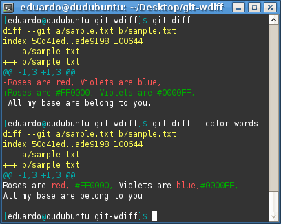 Sample output of <code>git diff --color-words</code>