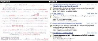 Figure 1. PubCloud offers a summarization of the literature abstracts returned by the PubMed search engine.